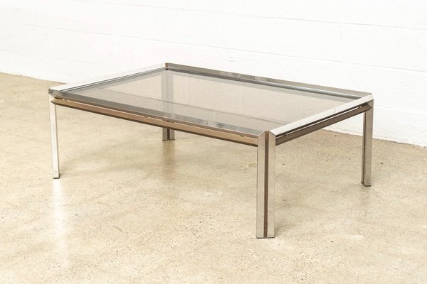 Vintage Chrome Brass Glass Coffee Table For Sale At Pamono
