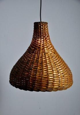 Lampe à Suspension en Osier, 1960s en vente sur Pamono