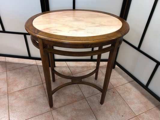 Antique Oval Oak And Pink Marble Coffee