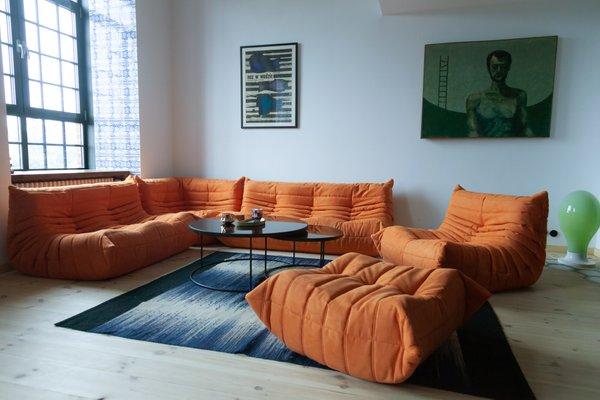 Orange Microfiber Togo Living Room Set by Michel Ducaroy for Ligne Roset,  1970s