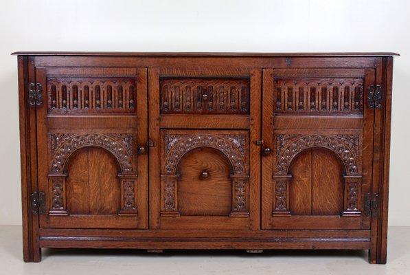 Vintage Arts Crafts Style Carved Oak