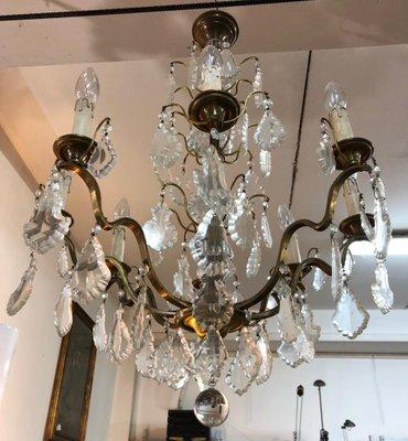 Antique Bohemian Crystal Br 8 Light Chandelier