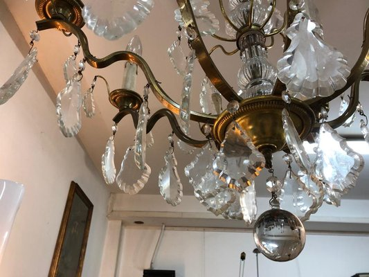 Lampadari Di Cristallo Di Boemia.Lampadario A Otto Luci Antico In Cristallo Di Boemia E Ottone