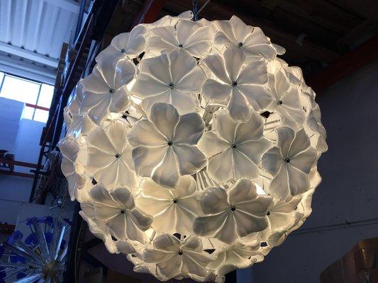Murano Glass White Lotus Flower Chandelier From Italian Light Design