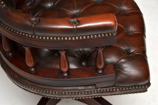 Awe Inspiring Victorian Style Mahogany Leather Captains Desk Chair 1950S Uwap Interior Chair Design Uwaporg