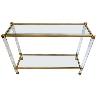Vintage Two Tier Lucite Br Console Table