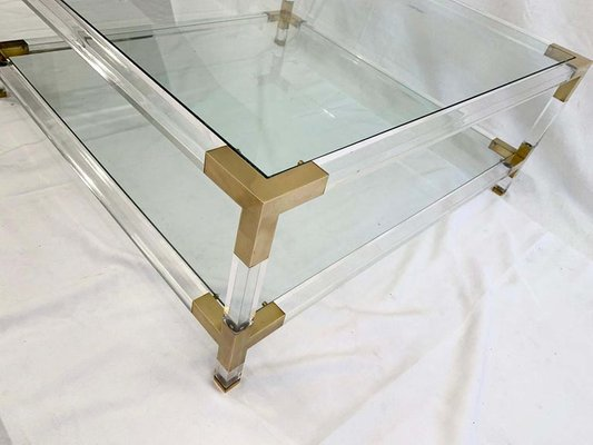 Large Square Lucite Br Coffee Table 1970s