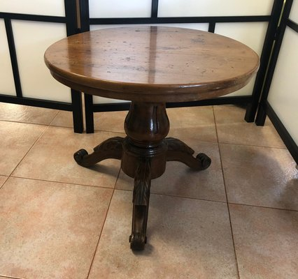 Round Vintage Walnut Coffee Table For