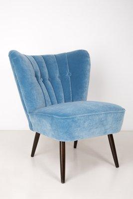 Mid Century German Blue Velvet Armchair By Stig Lindberg, 1960s