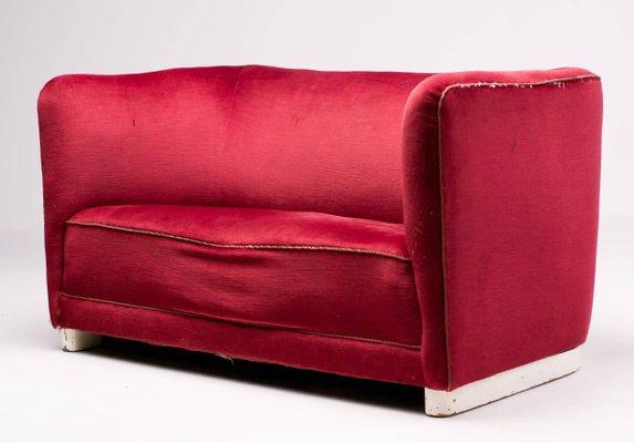 Vintage Red Velvet Sofa by Ole Wanscher for Fritz Hansen for sale at ...