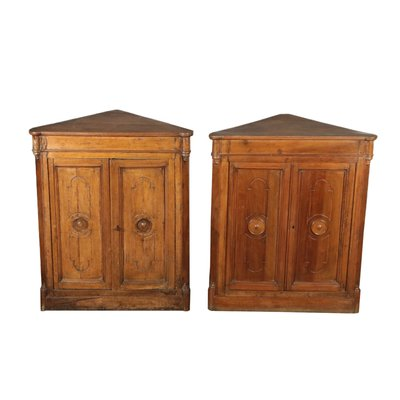 Antique Walnut Corner Cabinets Set Of 2 For Sale At Pamono