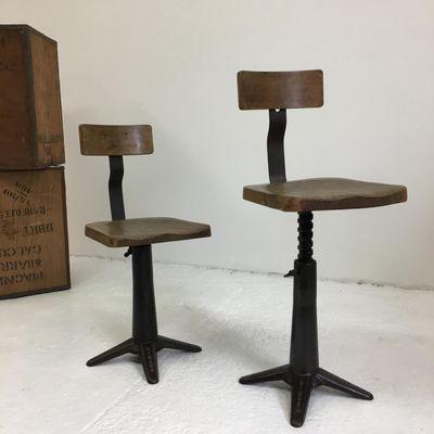 Chaise De Bureau Industrielle En Fonte Et Frene De Singer 1930s