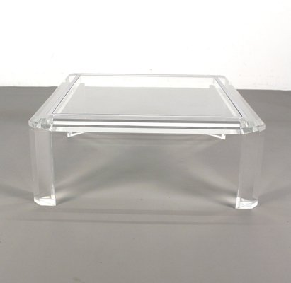 Vintage Square Acrylic Coffee Table 1970s