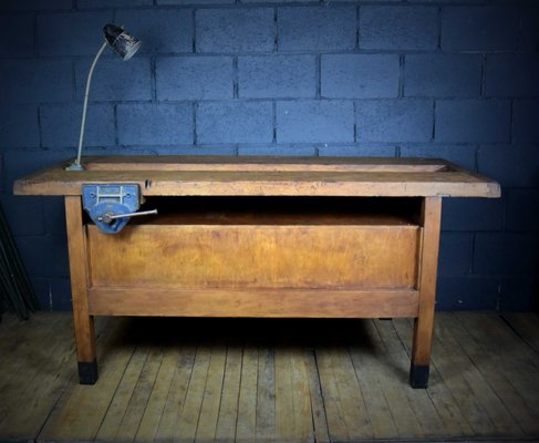 Remarkable Large Vintage Workbench With Lamp And Vice Andrewgaddart Wooden Chair Designs For Living Room Andrewgaddartcom