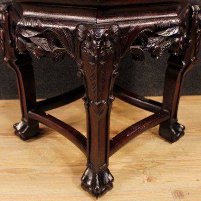Chinese Wooden Coffee Table With Marble Top 1950s