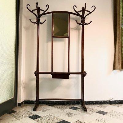 Attaccapanni Art Nouveau in legno di faggio e legno curvato con specchio di  Thonet