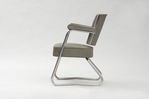 Stupendous Vintage Bauhaus Tubular Chromed Steel Vinyl Desk Chair Ocoug Best Dining Table And Chair Ideas Images Ocougorg