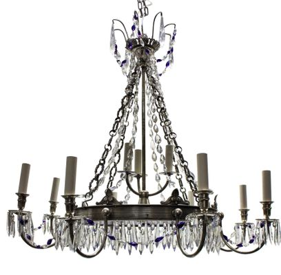 Russian Blue Gl Silver Plated Chandelier 1890s 1