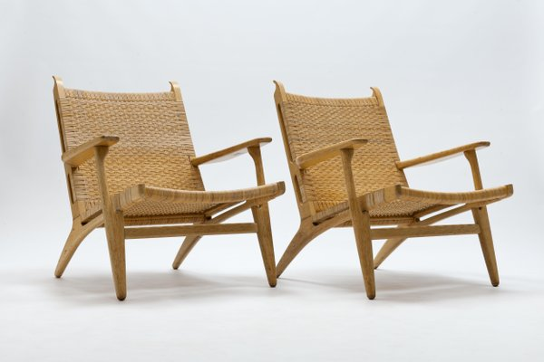 Awesome Cane And Oak Ch27 Lounge Chairs By Hans J Wegner For Carl Hansen Son 1950S Set Of 2 Caraccident5 Cool Chair Designs And Ideas Caraccident5Info