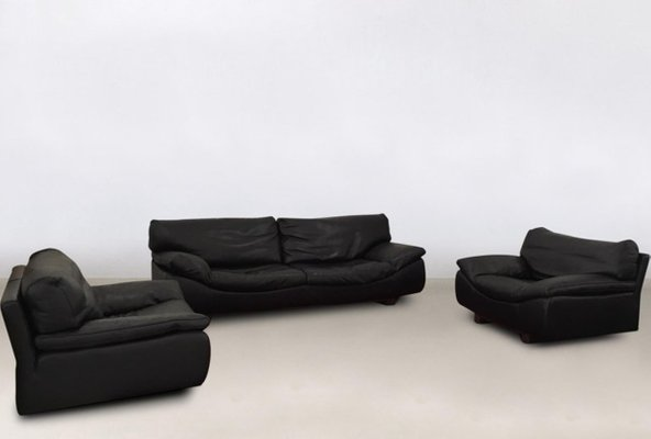 Postmodern Black Leather Living Room Set by Roche Bobois, 1980s