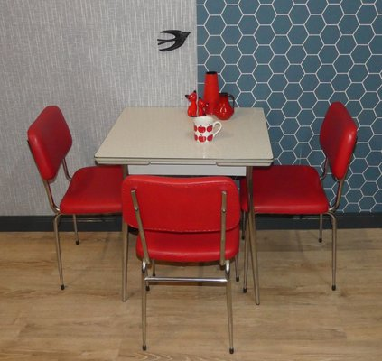 Mesa de cocina extensible pequeña de cromo y resopal, años 50