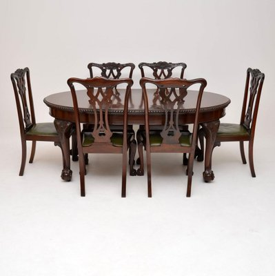 Antique Mahogany Chippendale Style Dining Table Six Chairs
