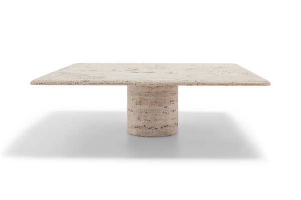 Square Travertine Coffee Table by Angelo Mangiarotti for Up & Up, 1970s