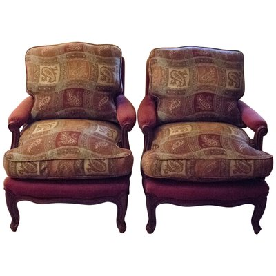 Louis XV Style French Pink Upholstered Walnut Armchairs, 1980s, Set Of 2 1