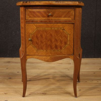 Italian Inlaid Wood Bedside Tables 1960s Set Of 2 1
