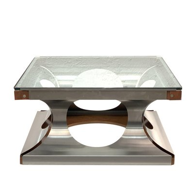 Peachy Square French Glass Steel Coffee Table By Francois Monnet 1970S Machost Co Dining Chair Design Ideas Machostcouk