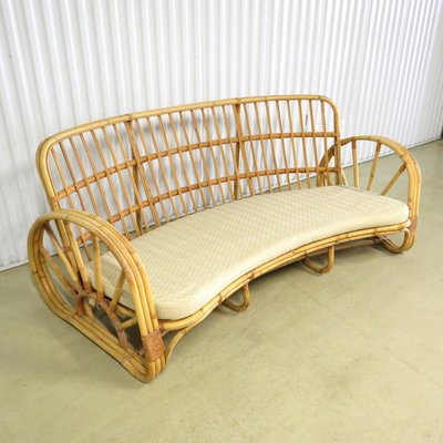 Curved Rattan Sofa 1960s For At