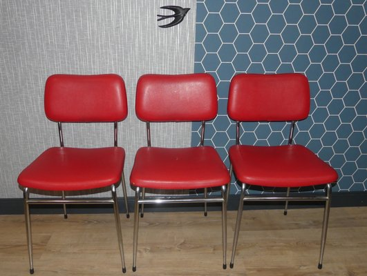 Phenomenal Red Skai Chrome Dining Chairs From Mayer 1960S Set Of 3 Gmtry Best Dining Table And Chair Ideas Images Gmtryco