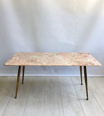 Mid Century Italian Pink Marble Coffee Table 1950s