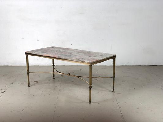 Mid Century Italian Brass U0026 Marble Coffee Table 1