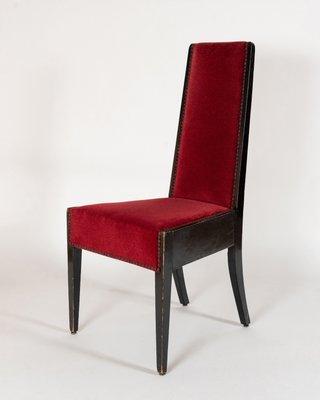 Chaises de Salle à Manger en Bois Noir & Velours Rouge par Gustav Goerke,  1930s