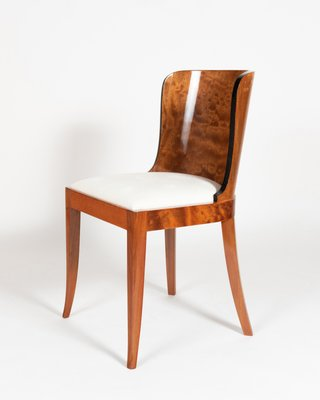 Burl Mahogany White Fabric Dining Chairs 1930s Set Of 4 For Sale At Pamono