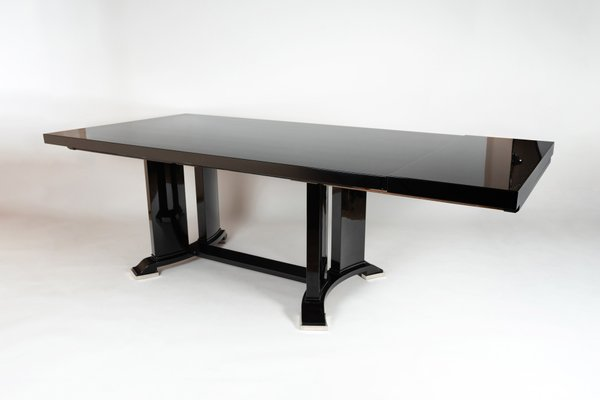 Extendable Black Lacquered Dining Table 1930s