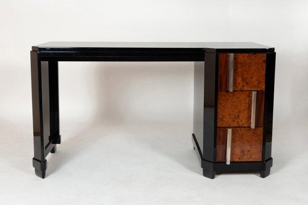 Schreibtisch Aus Schwarzem Holz Wurzelholz Metall 1930er
