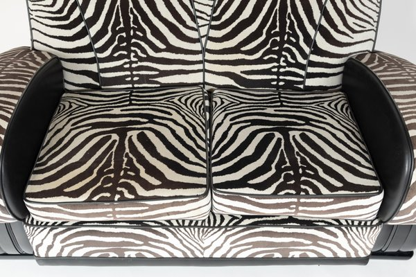 Sofa With Zebra Print Fabric 1930s For