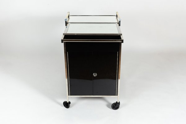 Table De Bar Noir.Chariot De Bar Noir Miroir Par Jacques Adnet 1930s