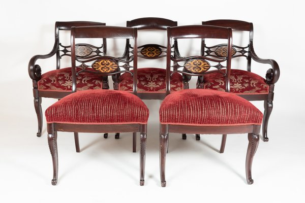 Royal Red Dining Chairs, 1880s, Set Of 8