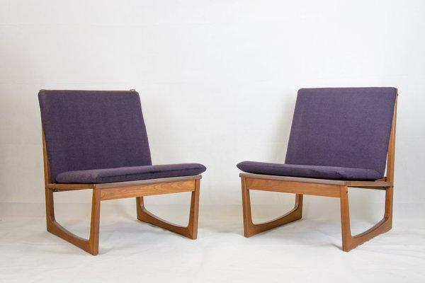 Model 522 Teak Easy Chairs by Hans Olsen for Brdr  Juul Kristensen, 1950s,  Set of 2