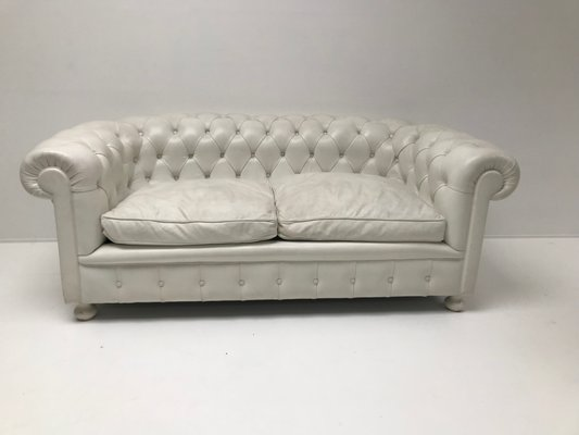 Beau White Leather Chesterfield Sofa, 1980s