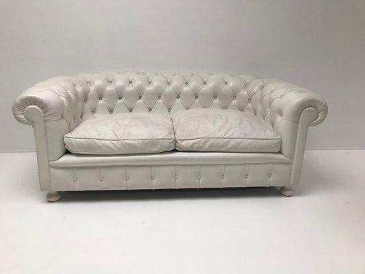 Super White Leather Chesterfield Sofa 1980S Short Links Chair Design For Home Short Linksinfo