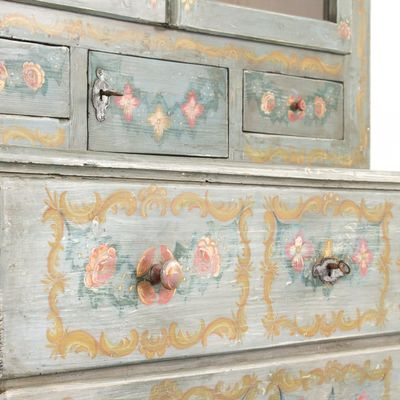 Antique Hand Painted Buffet Cabinet 7