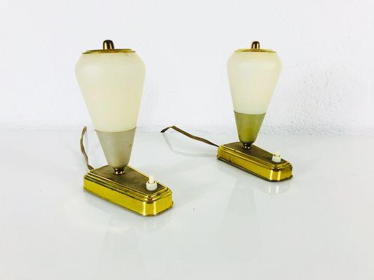 Mid Century German Modern Green U0026 Brass Table Lamps, 1950s, Set Of 2