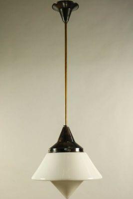 Art Deco Deckenlampe aus Kupfer & Glas von Dr. Twerdy bei Pamono kaufen