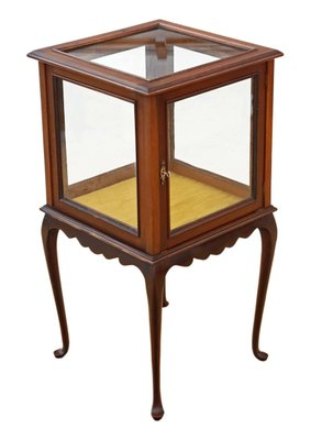 Antique Mahogany Display Cabinet Table