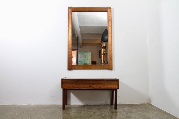 Danish Palisander Console Mirror Set From Holmer Hansen 1960s