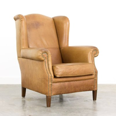 Vintage Leather Wingback Armchair For Sale At Pamono